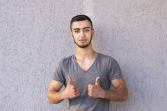 Man showing two thumbs up royalty free stock image