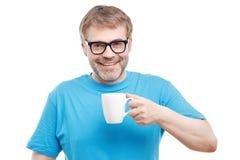 Cheerful man drinking tea Stock Image