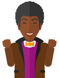 Cheerful man experiencing euphoria. Cheerful an african-american man in euphoria with raised hands and closed eyes vector flat design illustration  on white Stock Images