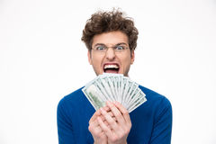 Cheerful man with glasses holding money Stock Photos