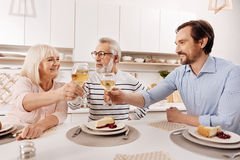 Cheerful man greeting his parents with holiday at home Stock Image
