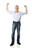 Cheerful man with hands up Royalty Free Stock Photography