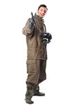 Cheerful Man in Hazard Suit. A man wearing an NBC Suite (Nuclear - Biological - Chemical royalty free stock photo