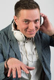 Cheerful man with headphones Stock Photo