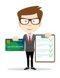Cheerful man holding credit card and a contract Royalty Free Stock Images