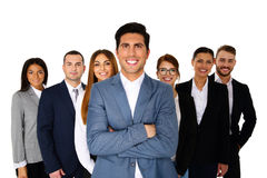 Cheerful man leading his happy. Cheerful men leading his happy team over white background Stock Photo