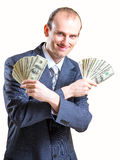 Cheerful man with money Royalty Free Stock Images