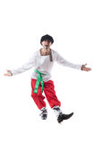 Cheerful man posing in costume of peasant Stock Photos
