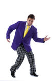 Cheerful man posing in large colorful costume Stock Photography
