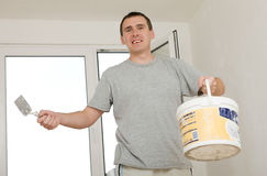 Cheerful Man Renovating Royalty Free Stock Image