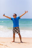 Cheerful man selfie with palm trees background in tropical island self male tourist portrait. Cheerful men selfie with palm trees background in tropical island Stock Photography