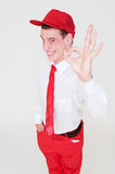 Cheerful man showing ok sign Stock Images