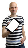 Cheerful man showing tablet computer screen Stock Photos