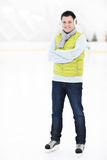 Cheerful man on a skating rink Royalty Free Stock Photos
