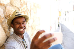 Cheerful man taking selfie on vacation Royalty Free Stock Photos