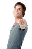 Cheerful man targets audience Royalty Free Stock Images