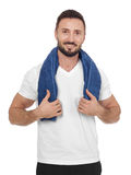 Cheerful man with towel Royalty Free Stock Image