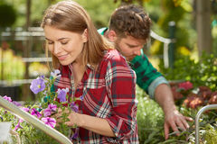 Cheerful man and woman in garden Royalty Free Stock Photos