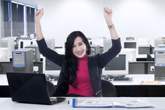 Cheerful manager celebrating her success Royalty Free Stock Photo