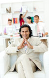 Cheerful manager in front of his team Royalty Free Stock Photography