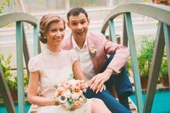 Cheerful married couple on bridge Royalty Free Stock Image