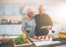 Cheerful married senior couple cooking in kitchen with enjoyment stock image