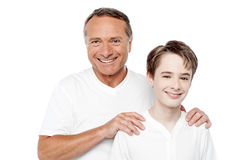 Cheerful mature father and son posing Stock Photo