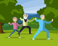 Cheerful mature people practicing Tai Chi in park. Royalty Free Stock Photography
