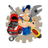 Cheerful mechanic. Abstract illustration of a cheerful mechanic with gear, car, screwdriver and wrench on the background. Available in vector EPS format stock illustration