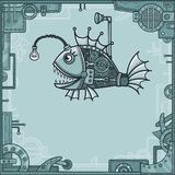 Cheerful mechanical fish. Background - a frame from metal details, the iron mechanism. Stock Photography