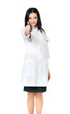 Cheerful medical doctor woman with stethoscope Stock Photography