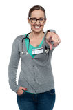 Cheerful medical practitioner pointing at the camera Stock Image