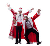 Cheerful men dressed as Santa Claus Royalty Free Stock Photo