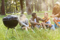 Cheerful men and woman making picnic Royalty Free Stock Image