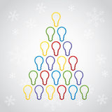 Cheerful Merry Christmas greeting card. With tree shaped of lighting bulbs and snowflakes, illustration vector illustration