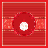 Cheerful Merry Christmas red card with tree decora. Tion ball and snowflakes,  illustration Stock Photography