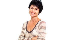 Cheerful middle aged woman Stock Photos