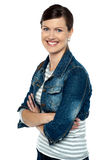 Cheerful middle aged woman in trendy clothing Stock Photos