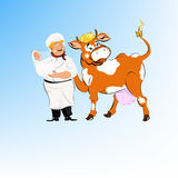 A cheerful milkman and cow Royalty Free Stock Photography