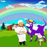 Cheerful milkman and purple cow Royalty Free Stock Images