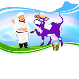 Cheerful milkman and purple cow Stock Image