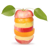Cheerful mixed fruits with leaves Royalty Free Stock Image