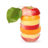 Cheerful mixed fruits with leaves Royalty Free Stock Photo