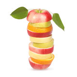 Cheerful mixed fruits with leaves Royalty Free Stock Photography