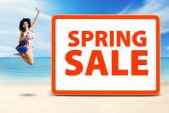 Cheerful model celebrate spring sale Stock Photos