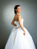 Cheerful model posing in wedding dress, close-up Royalty Free Stock Photo