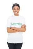 Cheerful model wearing volunteer tshirt posing Royalty Free Stock Images