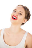 Cheerful model in white dress posing looking at camera Stock Photo