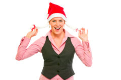 Cheerful modern business woman in Santa Hat Royalty Free Stock Photos