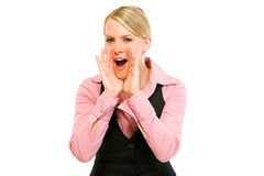 Cheerful modern business woman shouting isolated Stock Image
